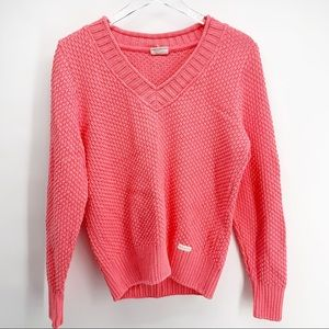 NWT Blue Willi's Pink V Neck 100% Cotton Sweater L